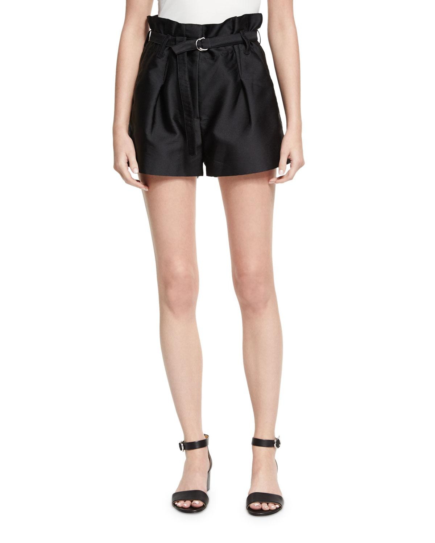 Lyst - 3.1 Phillip Lim Satin Origami Shorts in Black