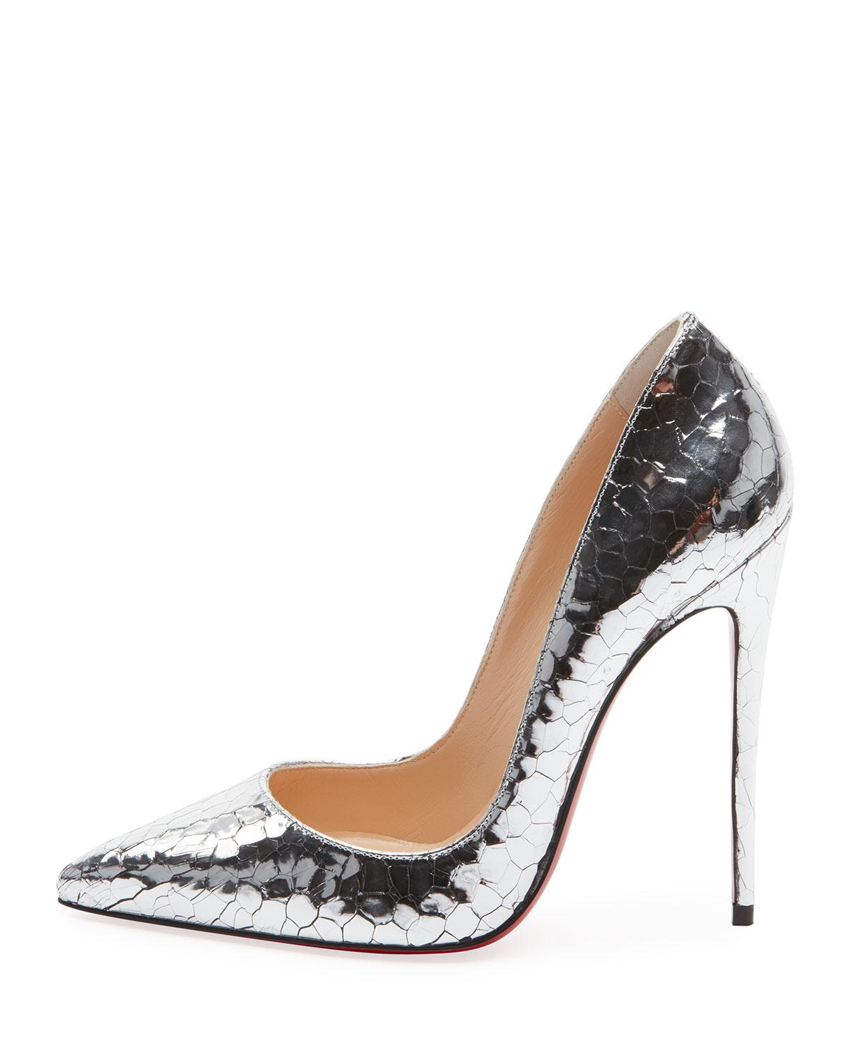 finest selection 3d2e4 42bcd Christian Louboutin Metallic Eklectica Crackled Red Sole Pumps