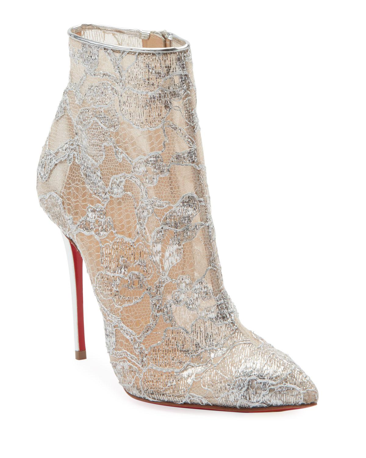 6192d52c388e Lyst - Christian Louboutin Gipsybootie Metallic Lace Red Sole Ankle ...