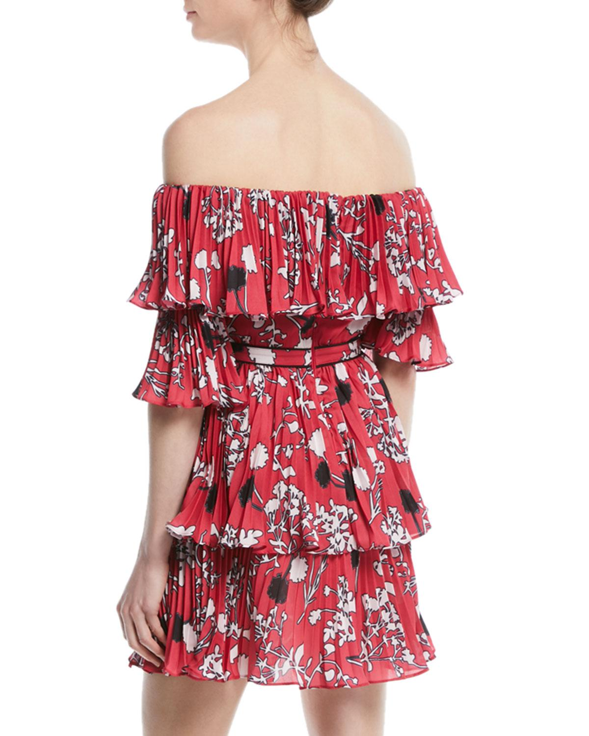 New Styles Online Pleated off-the-shoulder floral-print mini dress Self Portrait Buy Cheap New Styles ONfNFp1