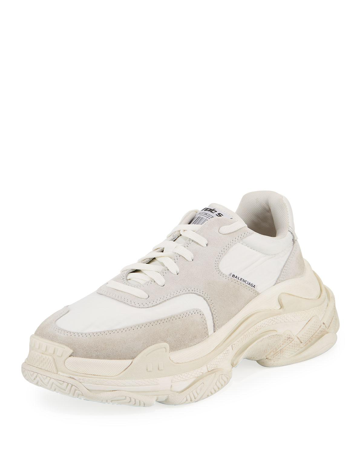 57d432182eb5 Lyst - Balenciaga Men s Triple S Nylon Sneakers in White for Men ...