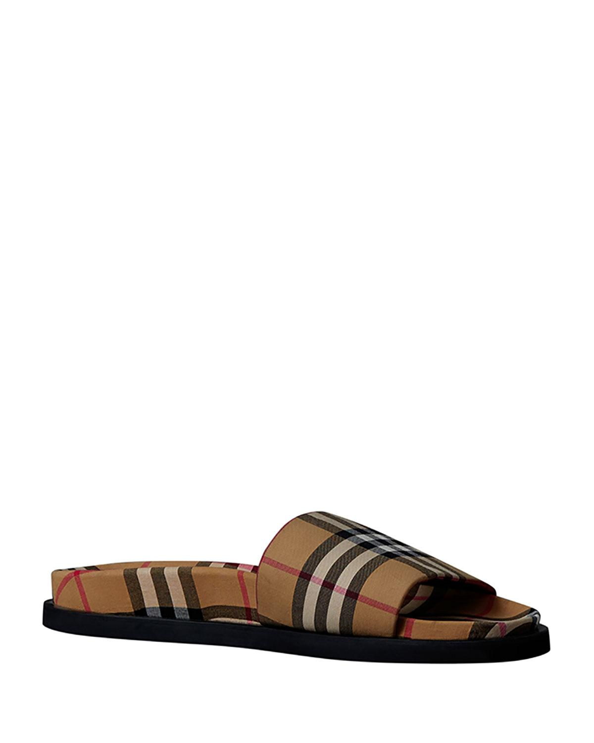 00ff8496119cc Burberry Men s Ashmore Check Slide Sandal in Yellow for Men - Lyst