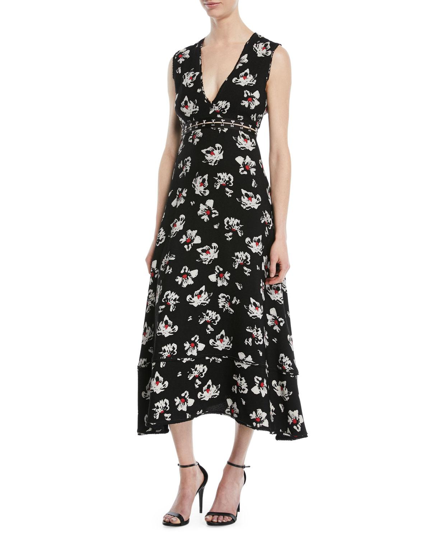 Printed V-Neck Midi Dress Proenza Schouler Cheap 2018 New NZSUZJlY