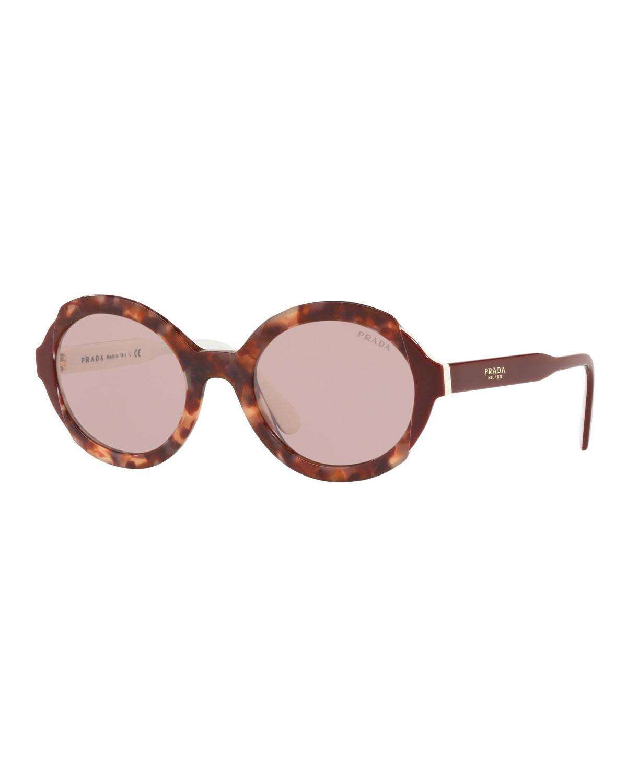 159e8e93e7bb Prada Oval Acetate Sunglasses - Lyst