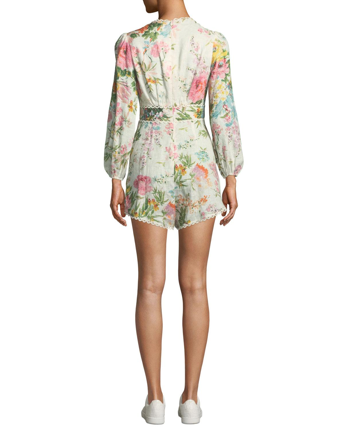 5b8891f0e59 Lyst - Zimmermann Heathers Plunging Floral Long-sleeve Linen Romper in White
