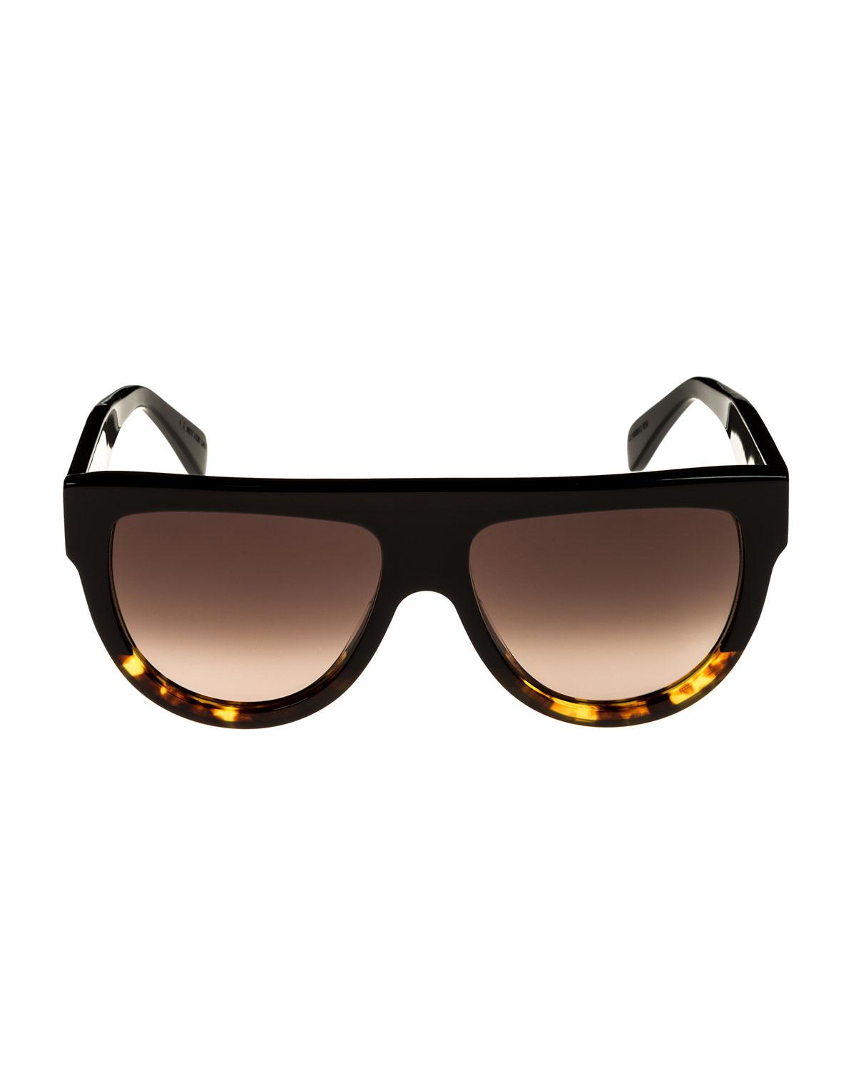 1d434c1005 Lyst - Céline Flattop Two-tone Shield Adjusted-fit Sunglasses in Black