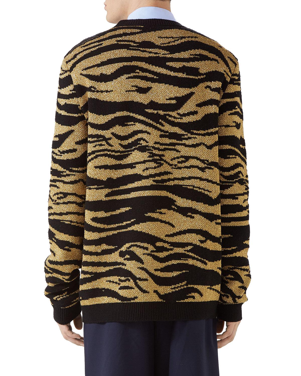 136c492ba9e Lyst - Gucci Black And Gold Jacquard Tiger Sweater in Black for Men