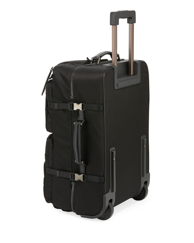 2e26f93e9bf4 Lyst - Prada Tessuto-trim Nylon Trolley Suitcase Luggage in Black