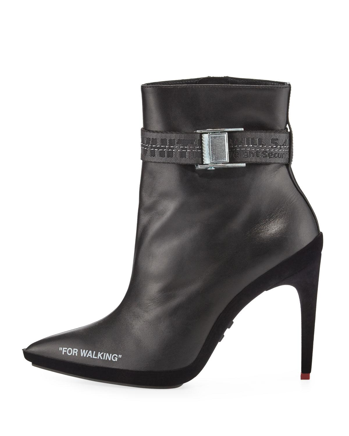 61488227941 Off-White c/o Virgil Abloh Black For Walking Leather Ankle Boots