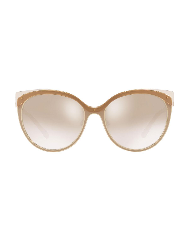 6c5c8c3a5fd4 Lyst - Burberry Mirrored Cat-eye Metal Sunglasses in Black