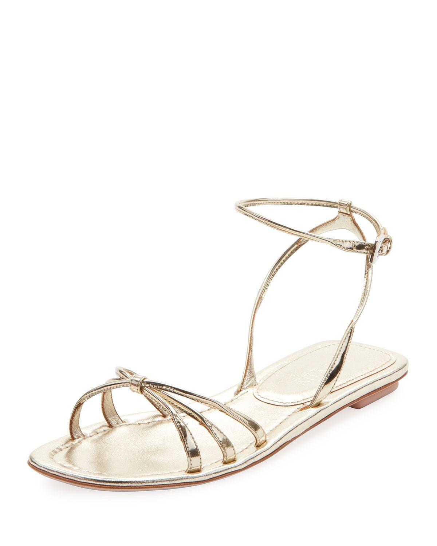 fb98e0730b5 Lyst - Prada Flat Metallic Leather Strappy Sandals in Metallic