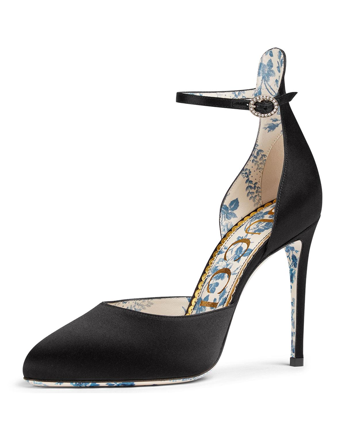 7618654f267a Lyst - Gucci Satin Ankle-strap 105mm D orsay Pumps in Black