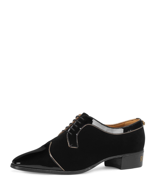 cda1a12d4 Gucci. Black Men's Thune Velvet Lace-up Shoes W/ Patent Leather Trim