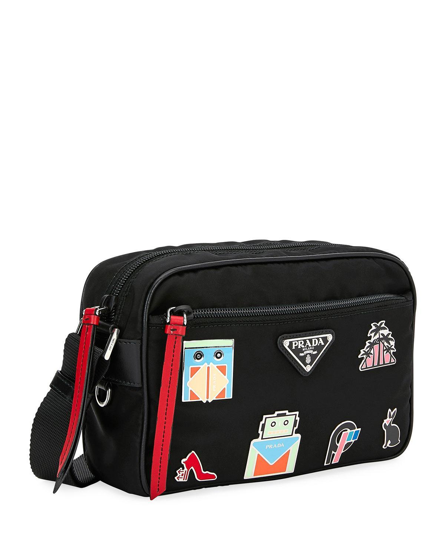 1e9b3600686b Prada Nylon Shoulder Bag With Graphic Appliqués in Black - Save 24% - Lyst