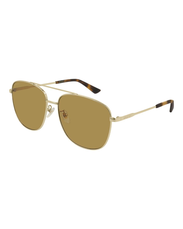 d8fda5be36f Lyst - Gucci Men s GG0410SK004M Aviator Sunglasses in Metallic for Men