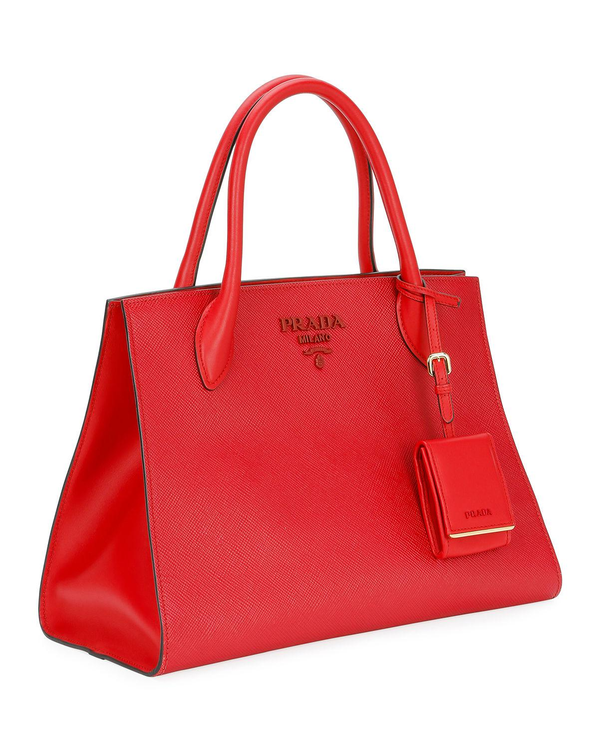 5c9566b3fbae6 Prada Red Large Monochrome Tote W/ Removable Crossbody Strap. View  fullscreen