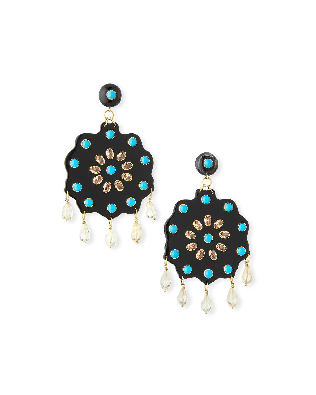 Ashley Pittman Shauku Light Horn Flower Earrings joHna