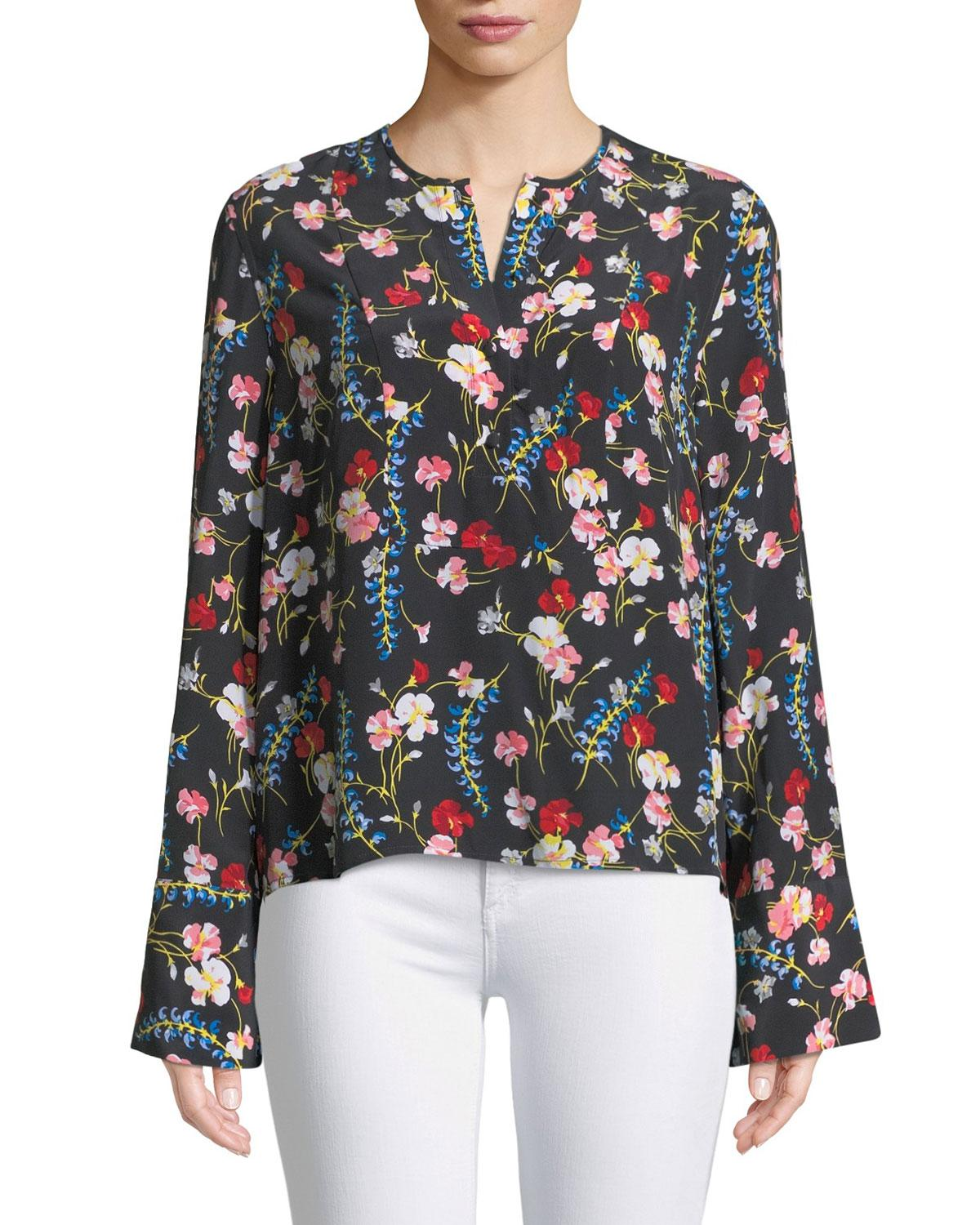 7f9d0ac8a097b Lyst - Equipment Heather Flare-sleeve Floral Silk Blouse for Men