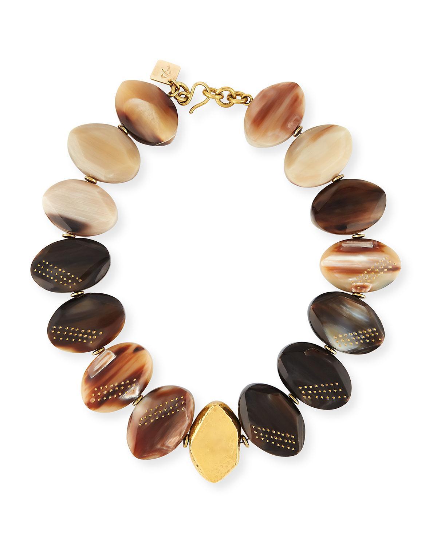 Ashley Pittman Shari Mixed Horn Petal Collar Necklace 3C3RQ