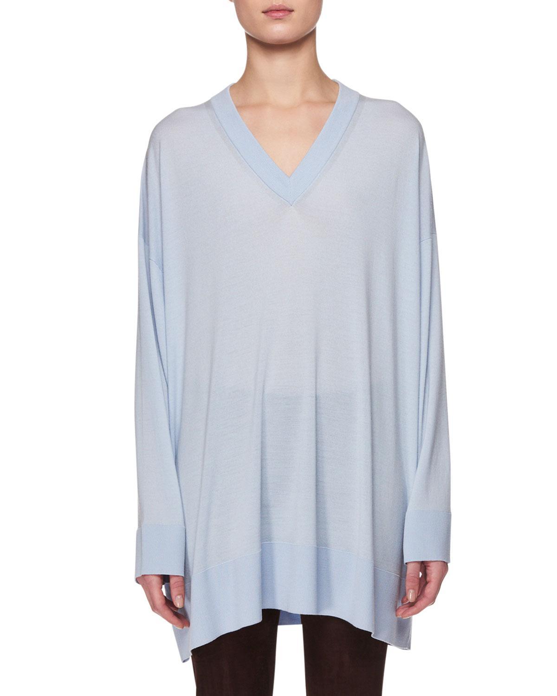 014cc9b8ad372 The Row Sabrinah V-neck Long-sleeve Oversized Cashmere-silk Sweater ...