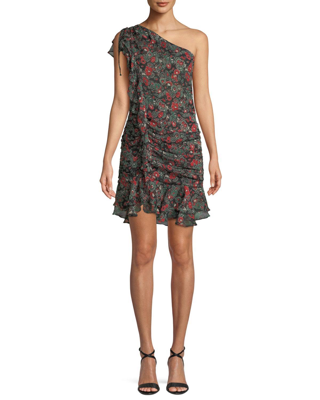 Ballard Printed Ruffle One-Shoulder Mini Dress Veronica Beard Shopping Online Cheap Online qsFfbLa1F