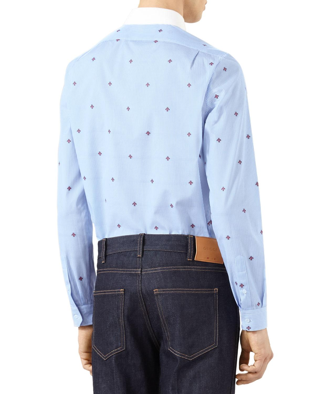 cf11d938c8 Gucci Blue Bee Fil Coupe Cambridge Shirt for men