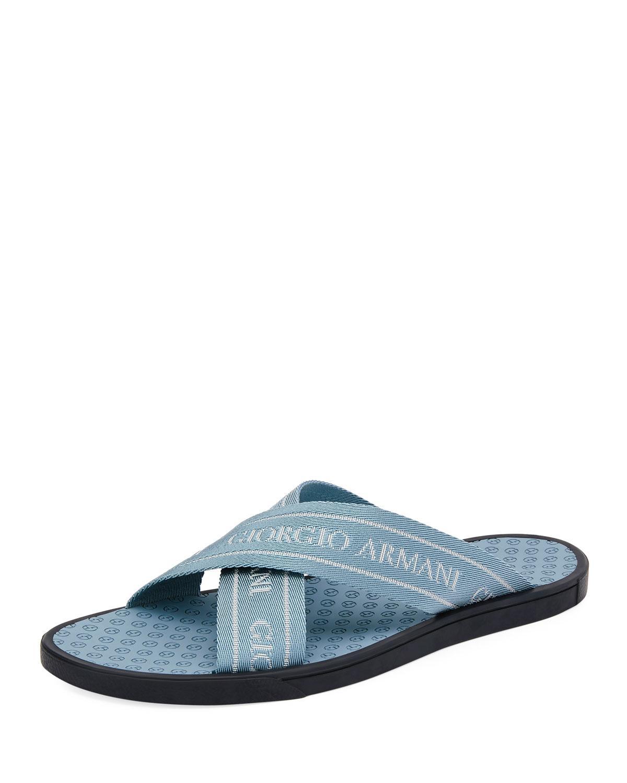 76588fec985c Lyst - Giorgio Armani Men s Logo Jacquard Thong Sandals in Blue