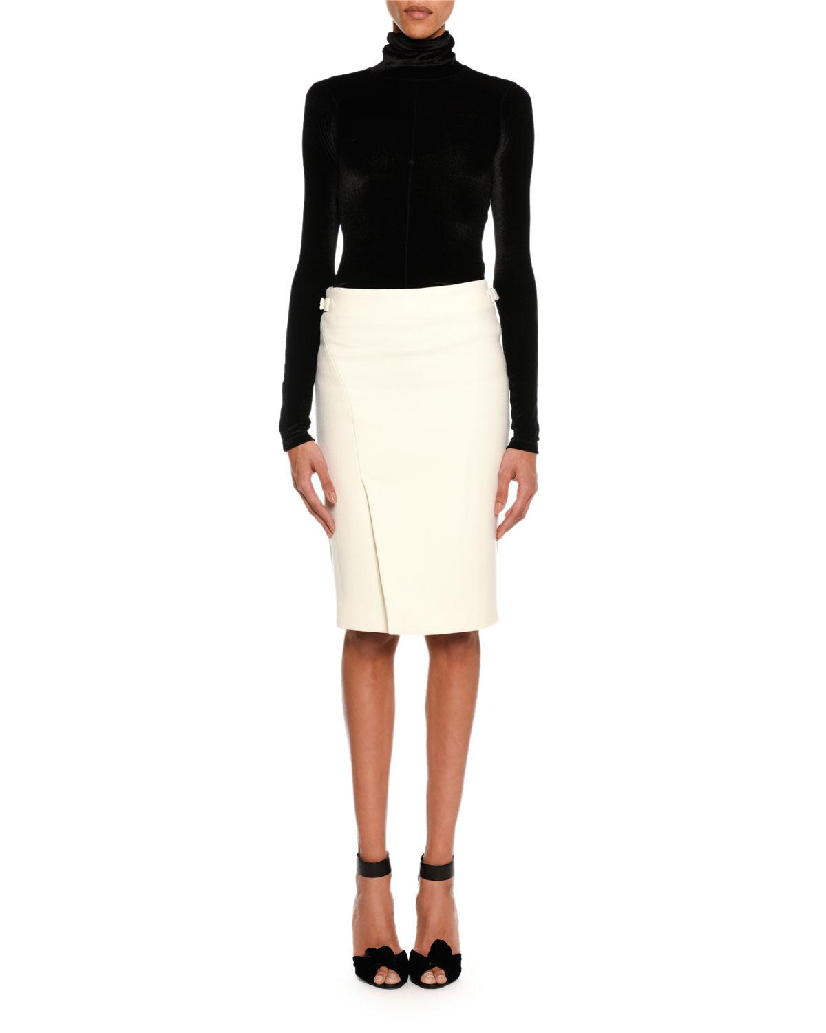 01dc470c3 Lyst - Tom Ford Wool Side-slit Pencil Skirt in White