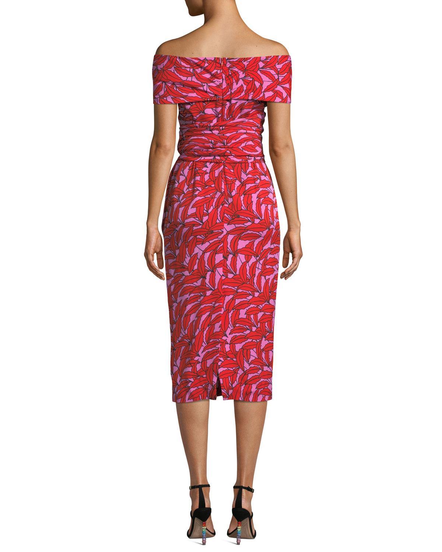 9970c8e9016 Diane von Furstenberg Delphine Printed Off-shoulder Cocktail Dress in Red -  Lyst