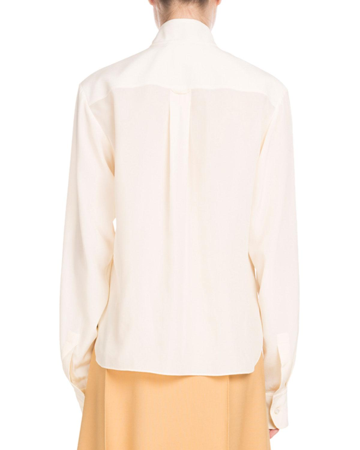 36d5d599feae25 Lyst - Chloé Long-sleeve Open-neck Silk Crepe De Chine Blouse W  Ring Scarf  in White