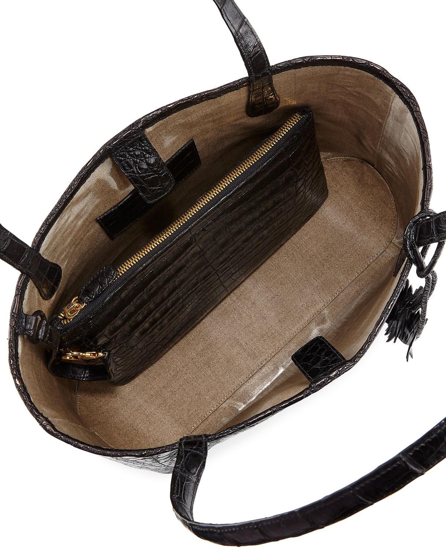d3516c3f94a7 Lyst - Nancy Gonzalez Erica Small Crocodile Leaf Tote Bag in Black