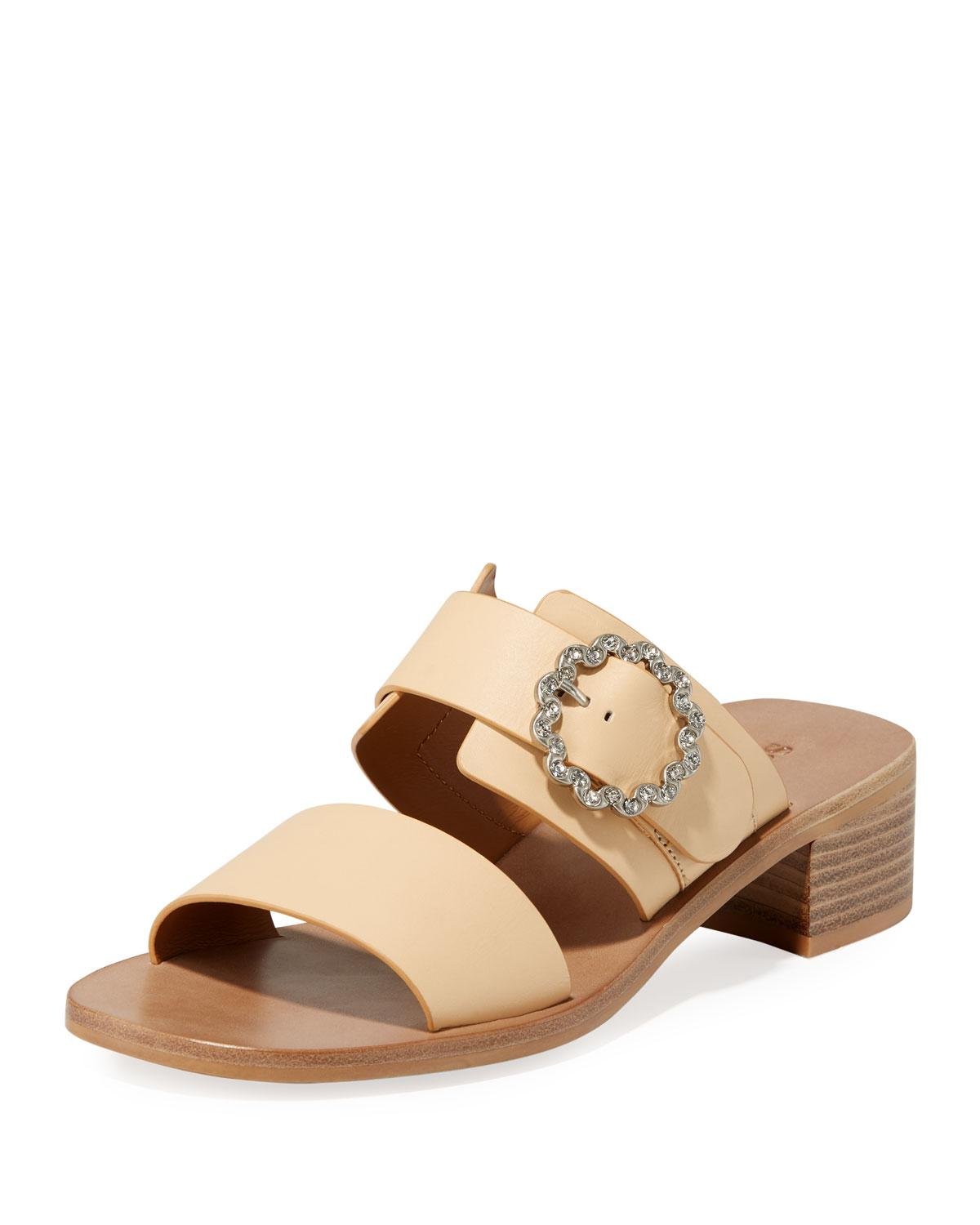 0094c7a1ce4 Lyst - See By Chloé Kristen Block-heel Leather Slide Sandals in Natural