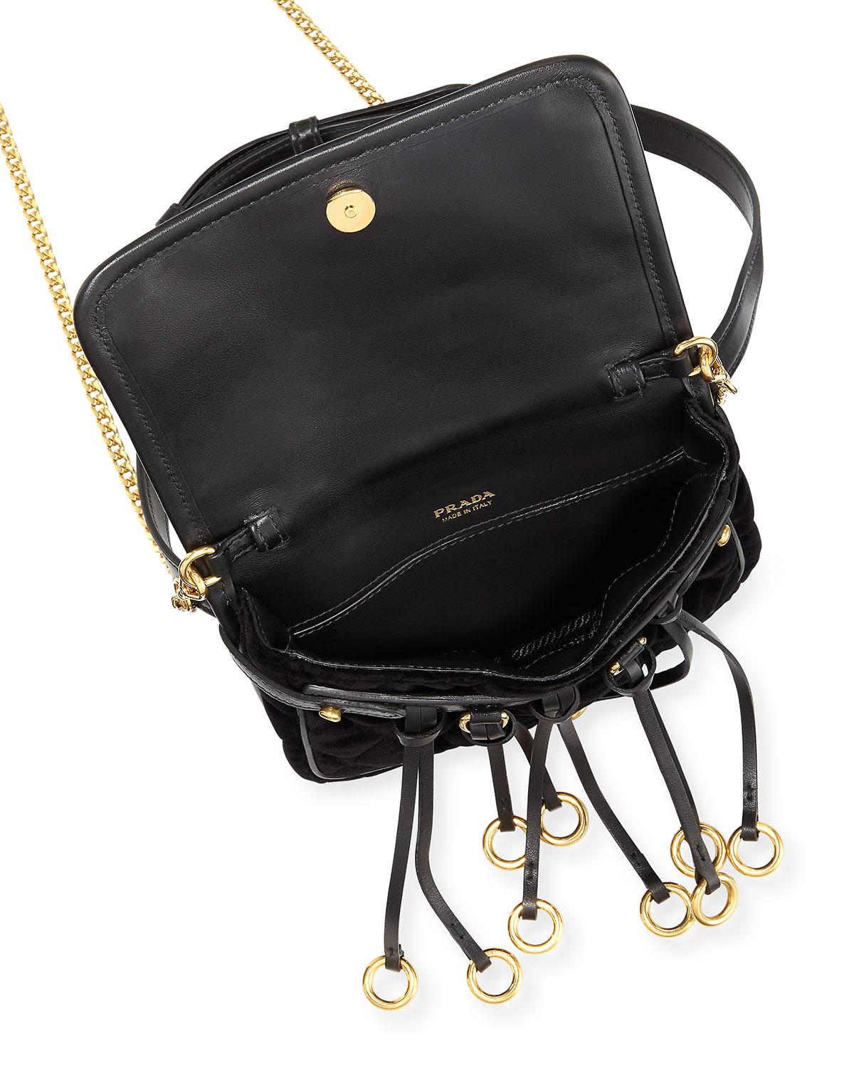 13e9bcafb2ab Prada Quilted Velvet Belt Bag & Crossbody Chain in Black - Lyst