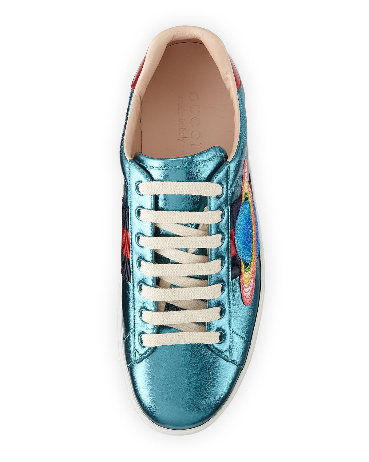 Gucci Ace Metallic Leather Sneaker - Lyst