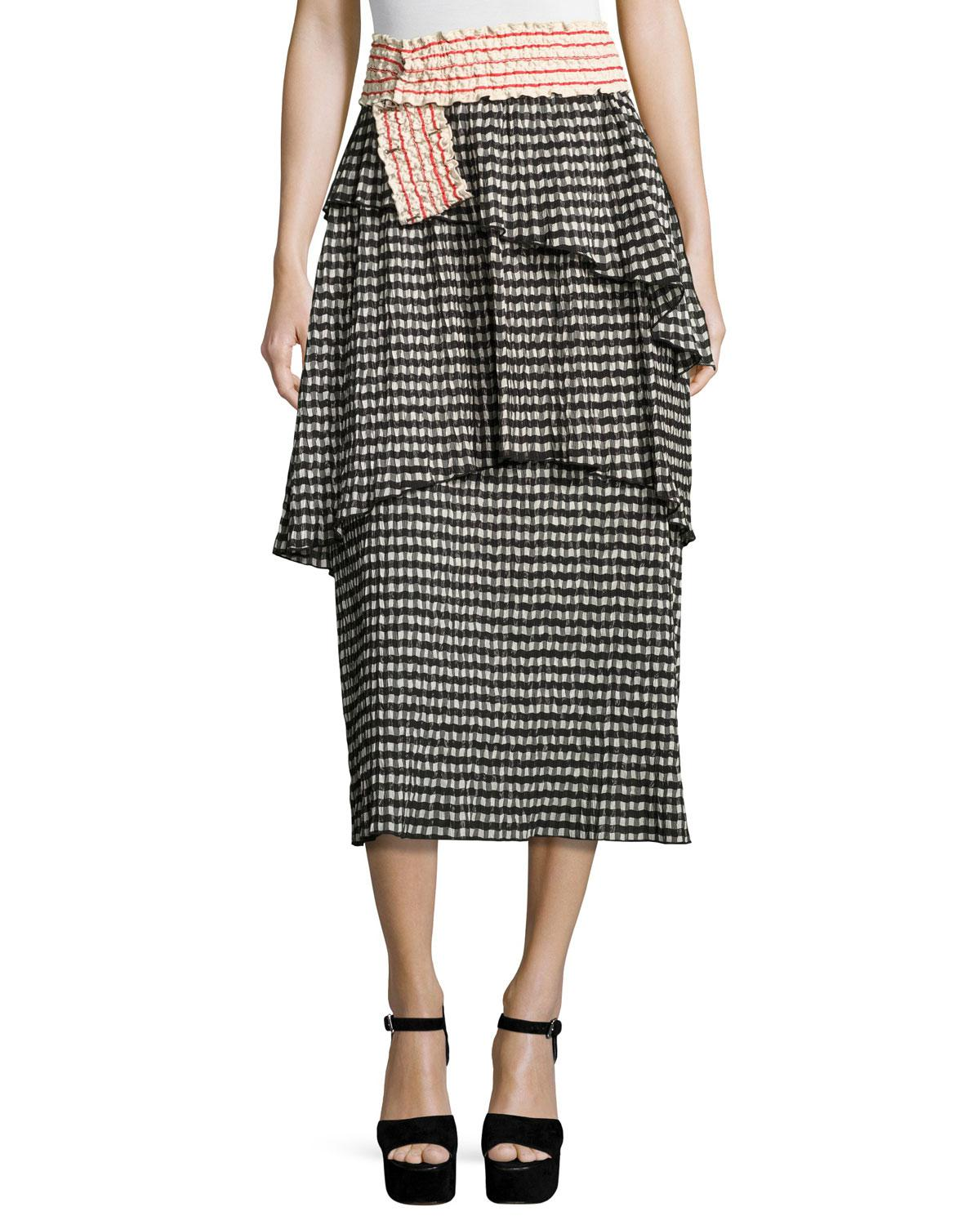 Clearance Clearance Store Rosie Assoulin Woman Mountain Range Gingham Seersucker Midi Skirt Black Size 2 Rosie Assoulin Free Shipping Footlocker Pictures Purchase For Sale PfAfGcCLtO