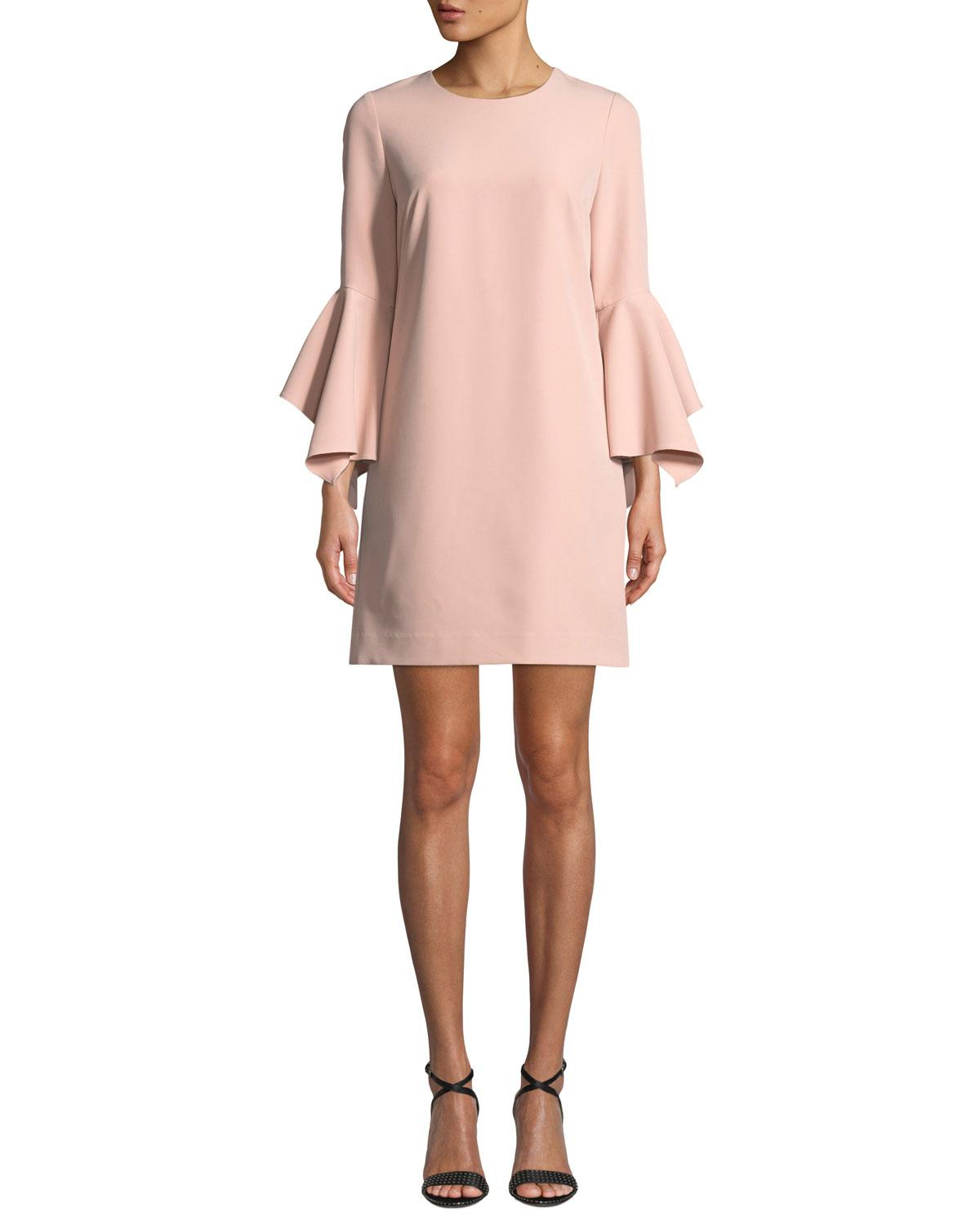 ab89c904374 Lyst - MILLY Rachel Italian Cady Bell-sleeve Dress in Pink - Save 51%