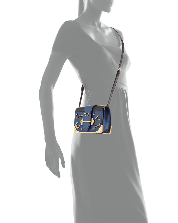 faa1e82b0cd986 Prada Cahier Petit Leather Trunk Bag in Black - Lyst