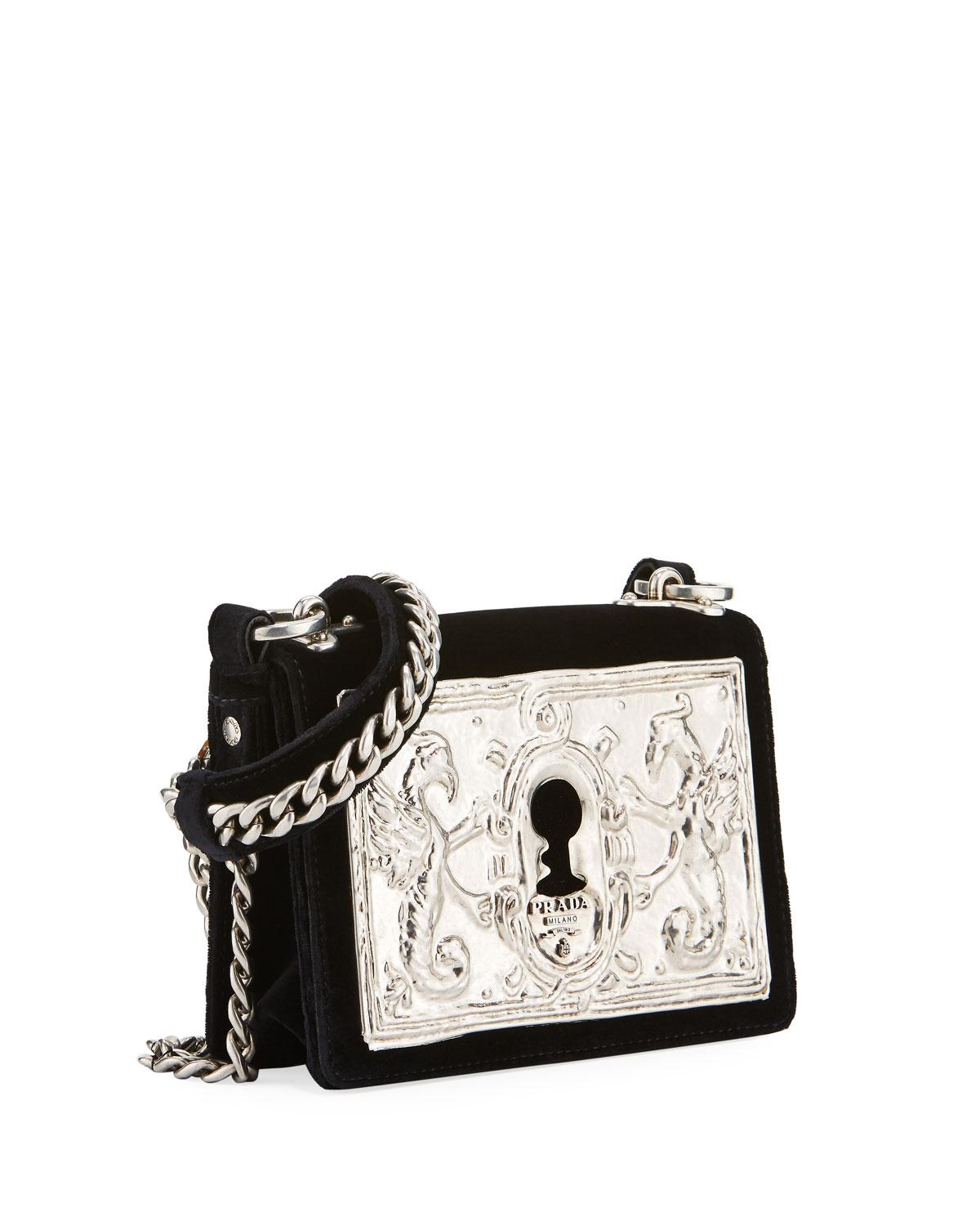 f5d5c13b976b Lyst - Prada Cahier Small Lock Velvet Trunk Crossbody Bag in Black