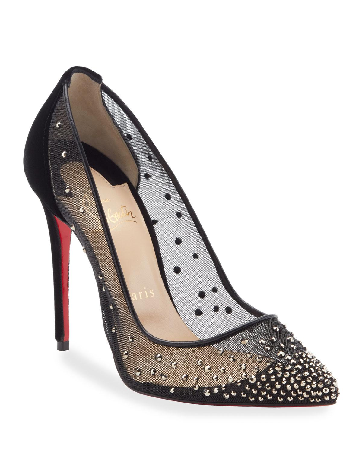 promo code df2b3 a665e Christian Louboutin Black Follies Strass-embellished Red Sole Pumps