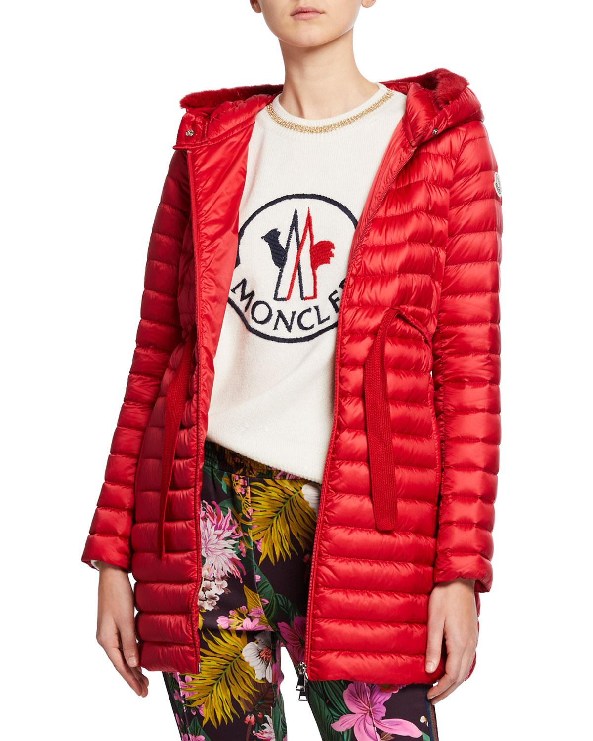 fae1cb51e Lyst - Moncler Barbel Quilted Puffer Coat With Fur Trim in Red