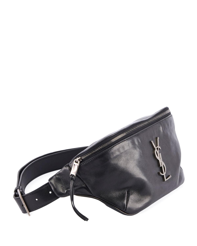 95bbf30630 Saint Laurent Black Ysl Monogram Curved Zip-top Belt Bag
