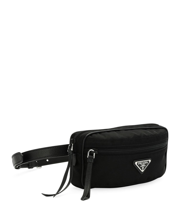 Lyst Prada Nylon Belt Bag In Black Tessuto