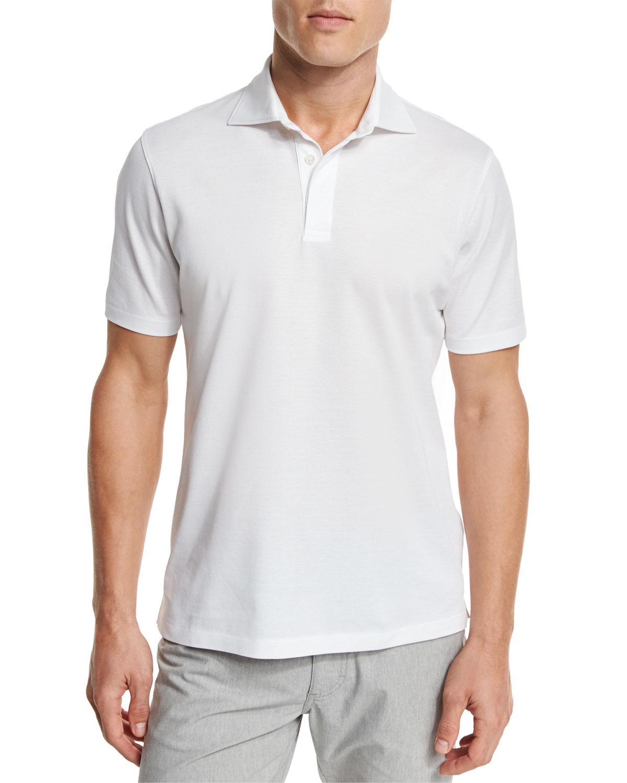 Lyst ermenegildo zegna pique polo shirt in white for men for Zegna polo shirts sale