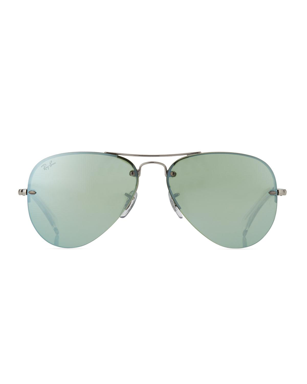 6c35cf7afe Lyst - Ray-Ban Men s Semi-rimless Aviator Sunglasses in Green for Men