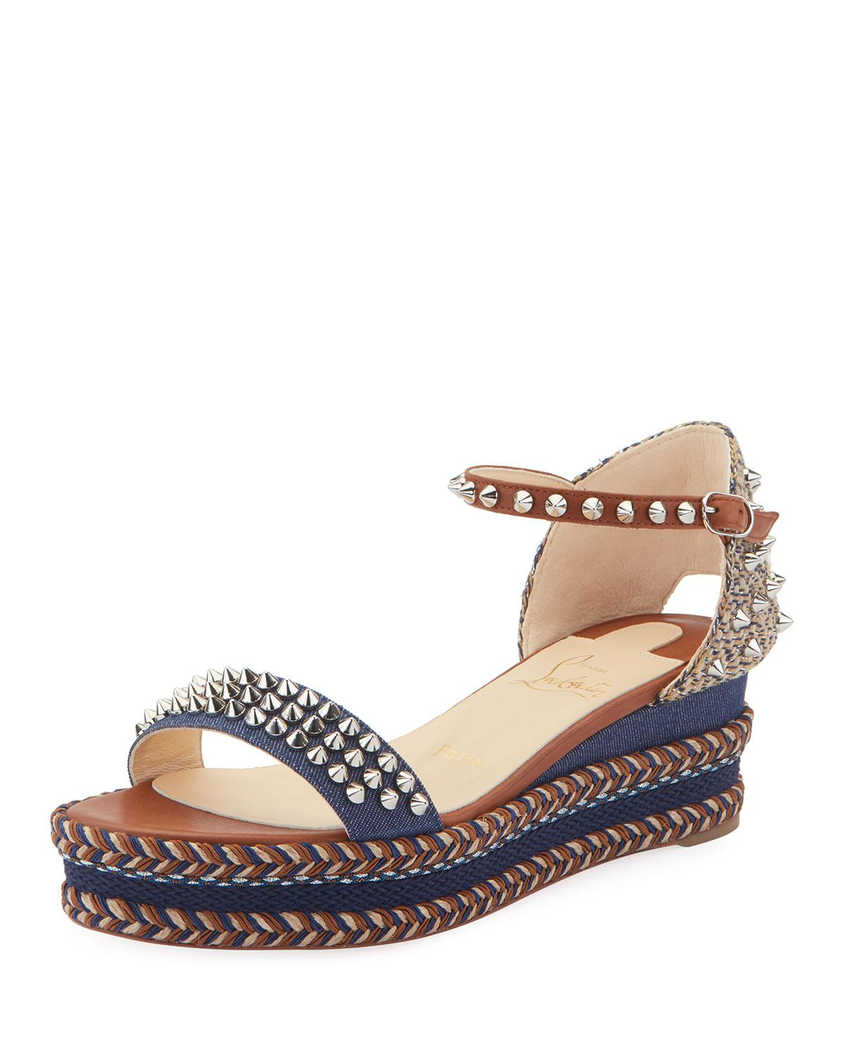 sports shoes d1a6d dc8f9 Christian Louboutin Blue Madmonica 60mm Spiked Denim Wedge Red Sole Sandals