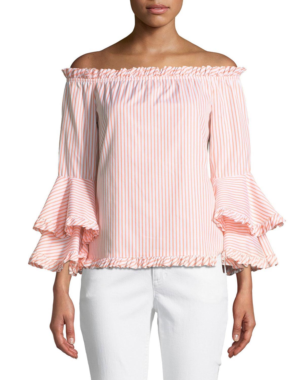 d302dc0c664 Caroline Constas. Women's Orange Tina Striped Off-the-shoulder  Tiered-sleeve Top
