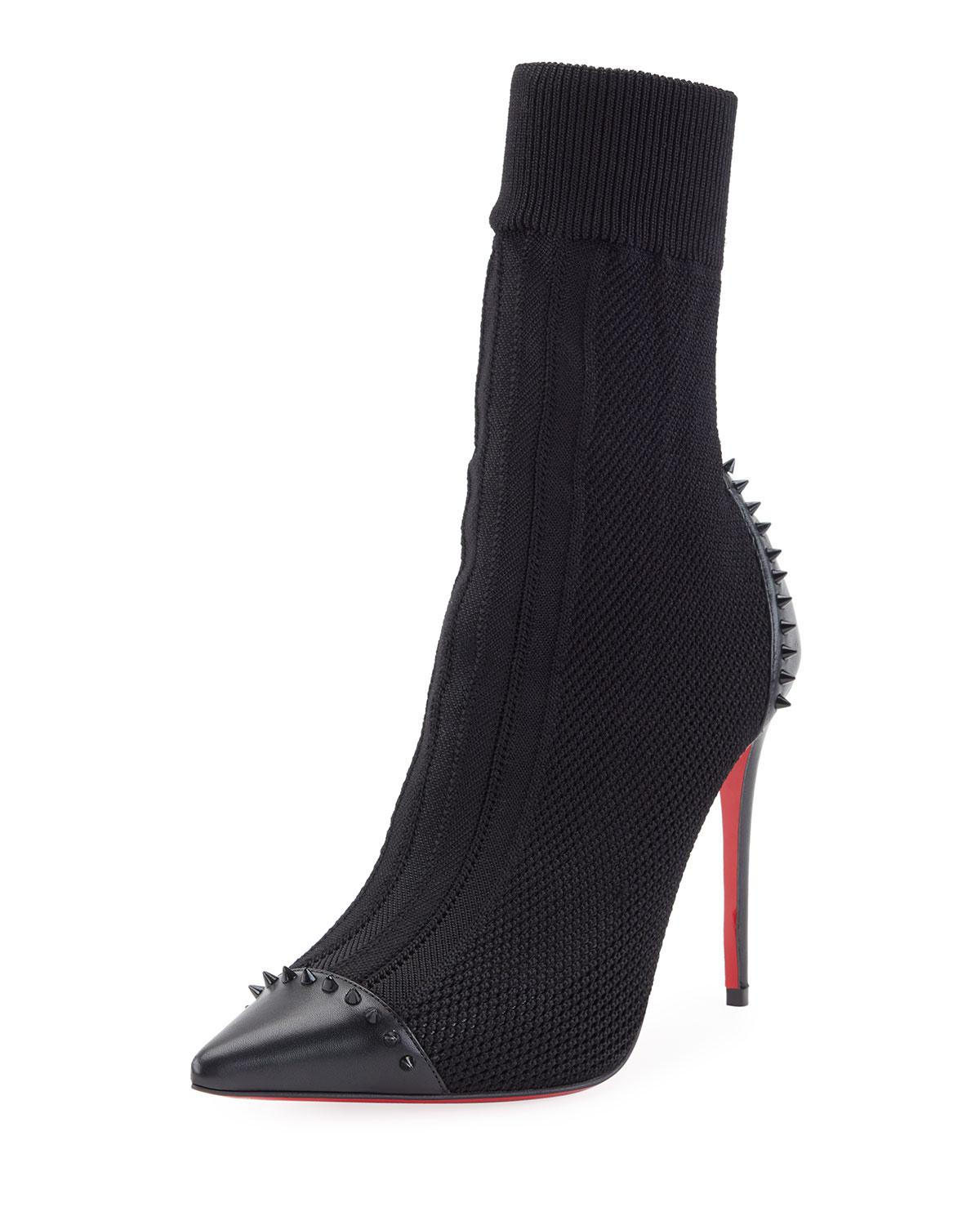 869db4736cbe Lyst - Christian Louboutin Dovi Dova Knit Red Sole Bootie in Black