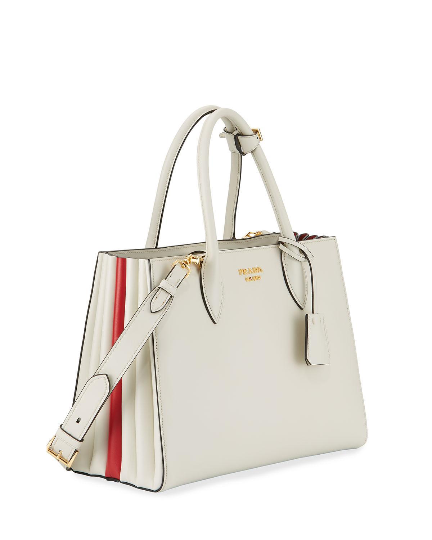 d6275a5556 Lyst - Prada Bibliothèque Medium Colorblock Tote Bag in White