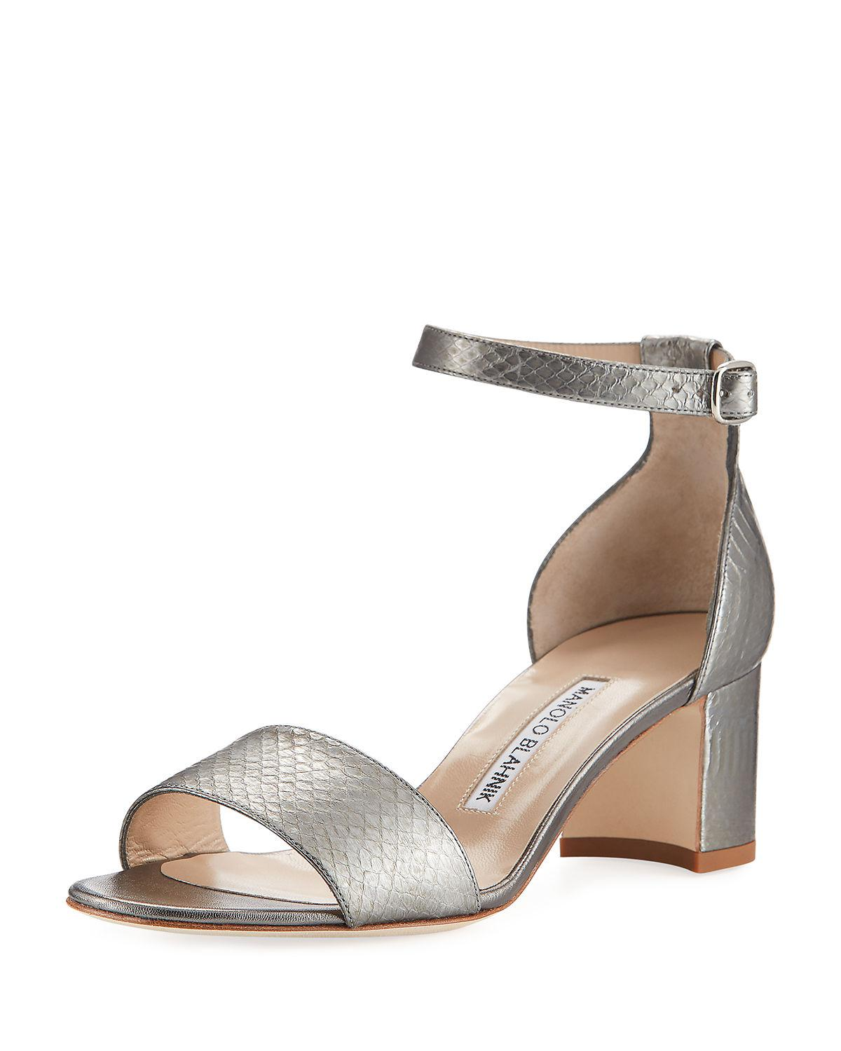 Manolo Blahnik Leather Embossed Sandals wholesale price for sale xSJneUUo