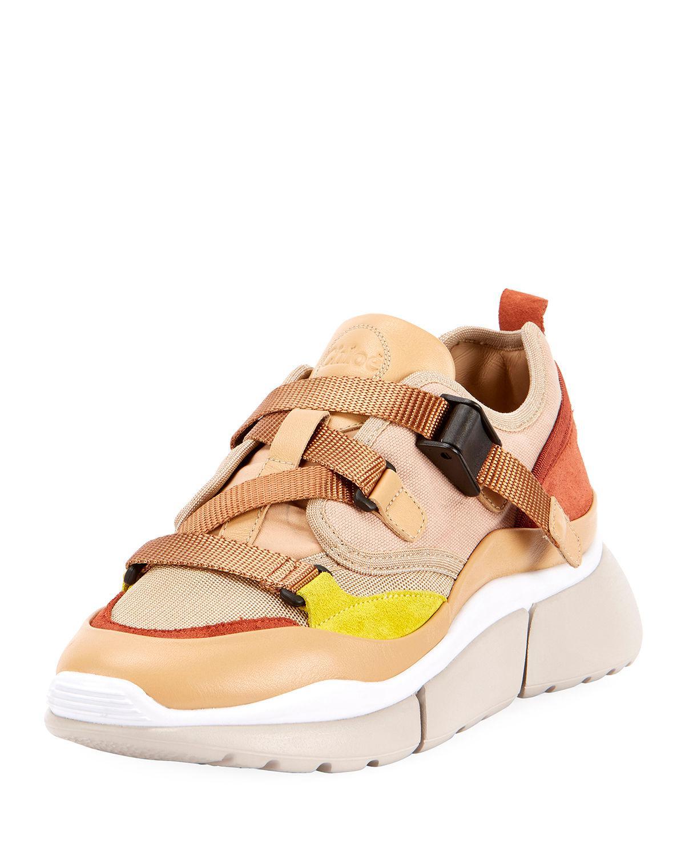 f166dc14d6066 Chloé Multicolor Buckle Sneaker in Pink - Lyst